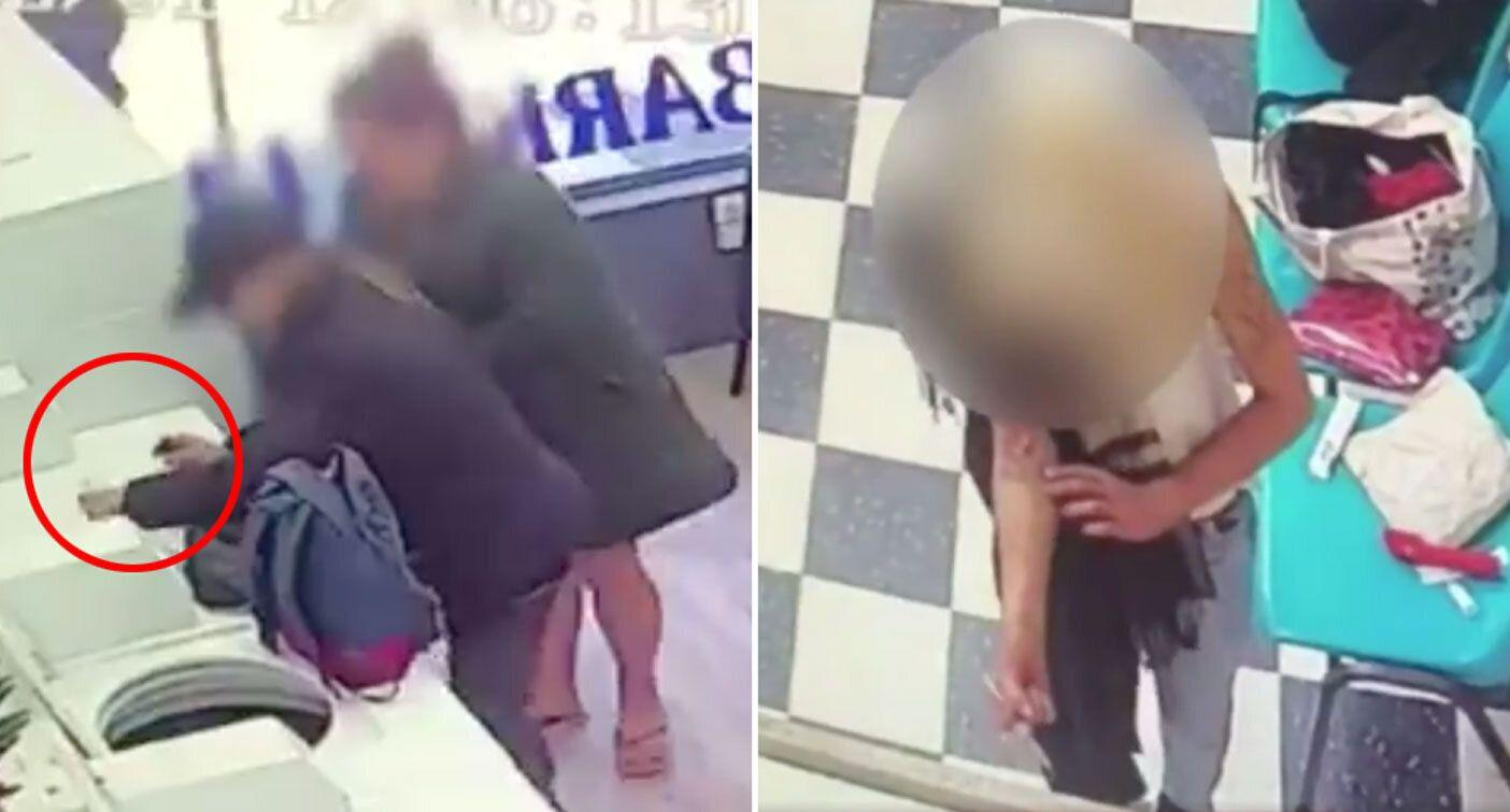 Shocking moment drug user shoots up in laundromat