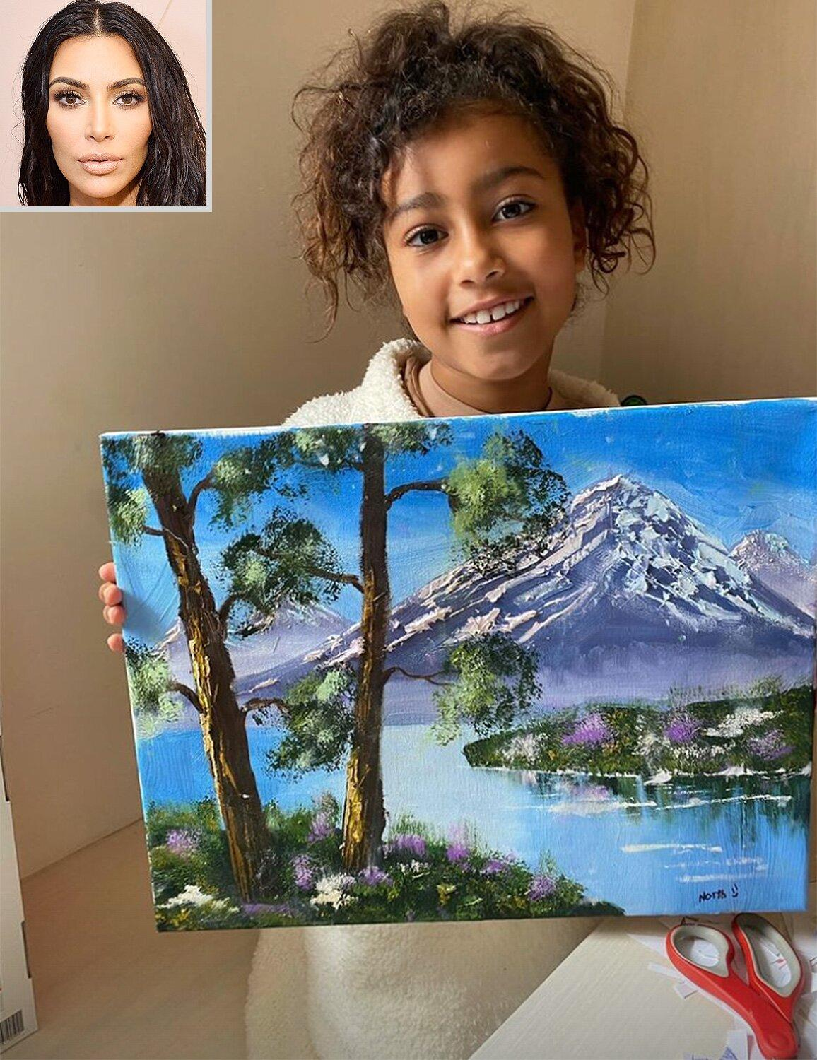Resultado de imagen para Kim Kardashian Calls Out Fans Who Don't Believe Daughter North's Artwork Is Actually Her Work