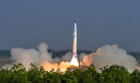 """""""Chongqing Liangjiang Star"""" rocket, developed by Chinese private firm OneSpace Technology, takes off from a launchpad in an undisclosed location in northwestern China"""