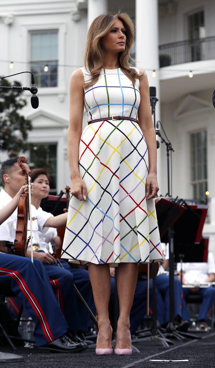 Melania Trump in a Mary Katrantzou dress. (Photo: AP Images)