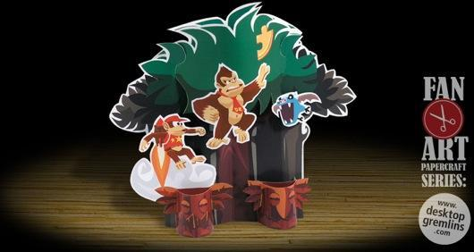 Donkey Kong Country Returns in papercraft form