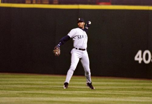 Ken Griffey Jr. in the outfield.