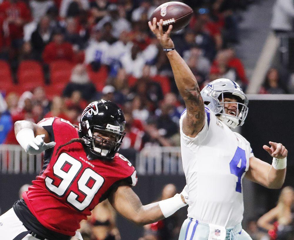 Atlanta's Adrian Clayborn was all over Dak Prescott on Sunday. (AP)
