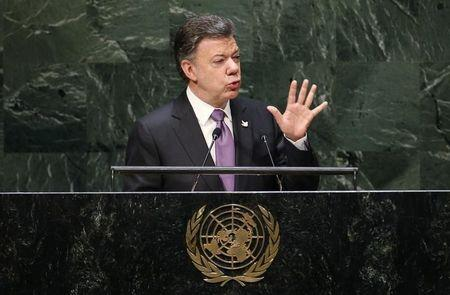 Colombia's President Juan Manuel Santos addresses the 69th United Nations General Assembly at United Nations Headquarters in New York