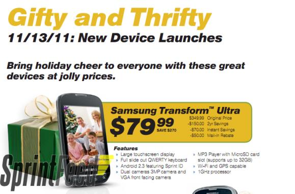 Sprint bringing Samsung Transform Ultra, Kyocera DuraCore to life November 13th?