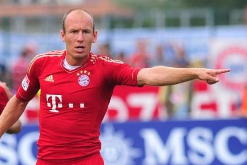 El jugador del Bayern de Múnich  Arjen Robben durante un partido amistoso contra el Napoli, el 20 de julio de 2012
