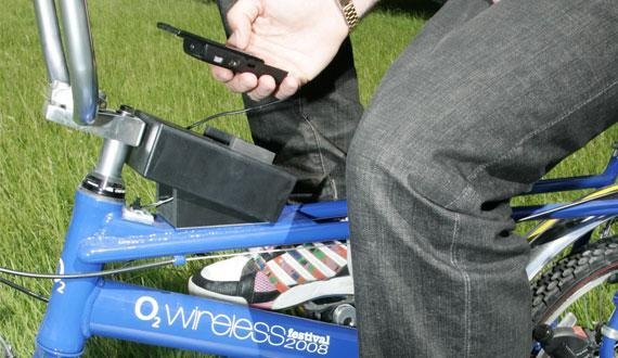 O2 showcases pedal-powered cellphone charger