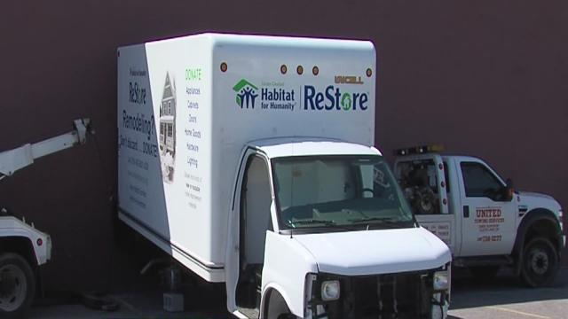 Greater Cleveland Habitat for Humanity truck stripped