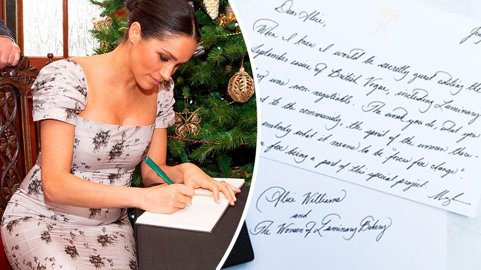 Meghan shows off her calligraphy skills in handwritten note to bakery