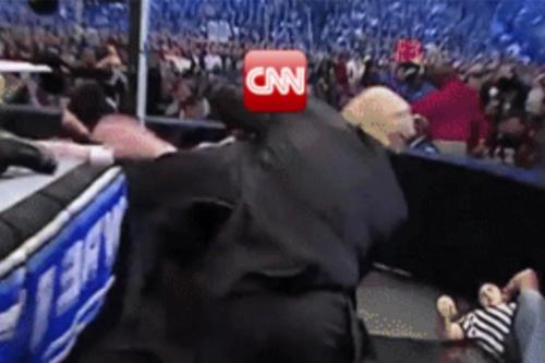 The clip shows Trump slamming 'CNN' to ground. (@realDonaldTrump via Reddit)