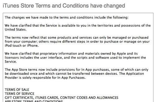 New terms and conditions for iTunes Store now online