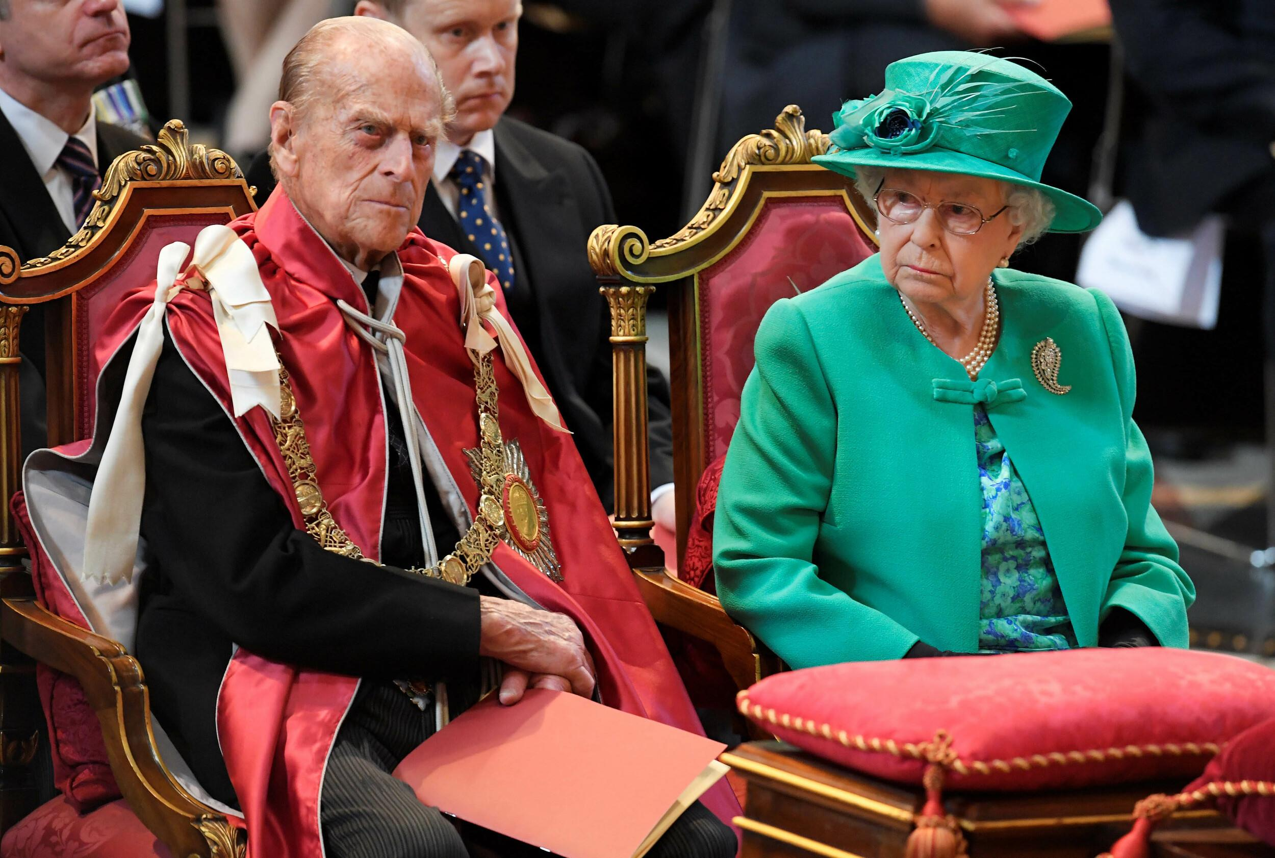 Photo by: KGC-375/STAR MAX/IPx 2017 5/24/17 Queen Elizabeth II and Prince Philip, Duke of Edinburgh attend a service to mark the 100th anniversary of the Order of the British Empire at St Paul's Cathedral in London.