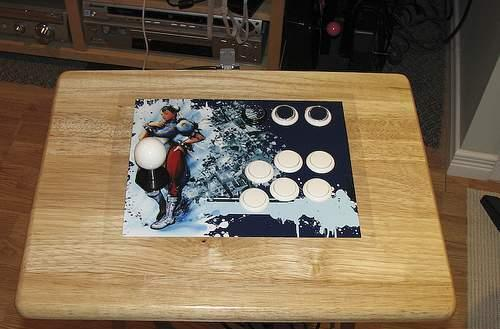 Homebrew Street Fighter IV PS3 controller stands up on its own two legs