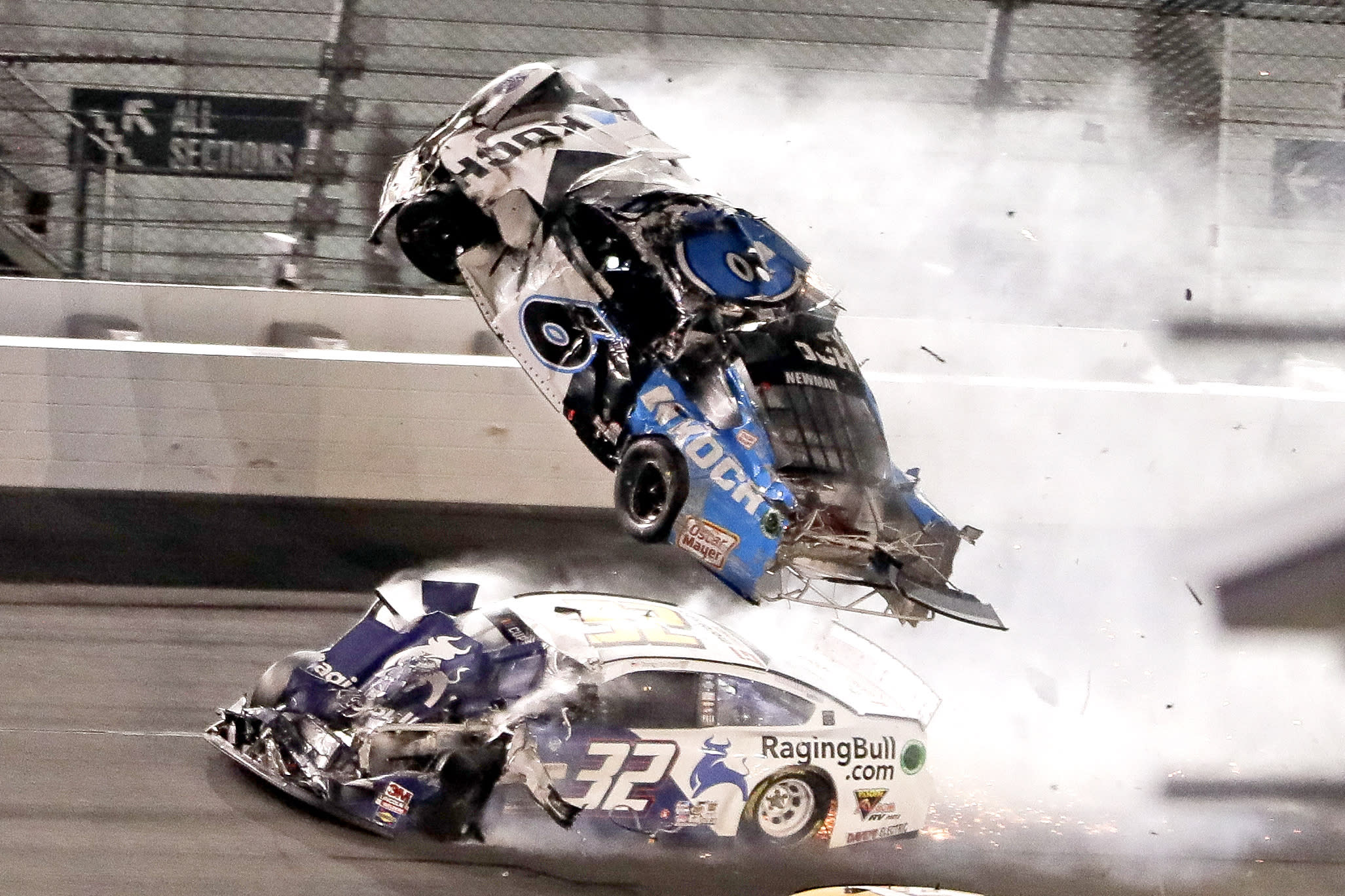 NASCAR Daytona 500 auto race at Daytona International Speedway, Monday, Feb. 17, 2020, in Daytona Beach, Fla. Sunday's race was postponed because of rain. (AP Photo/John Raoux)