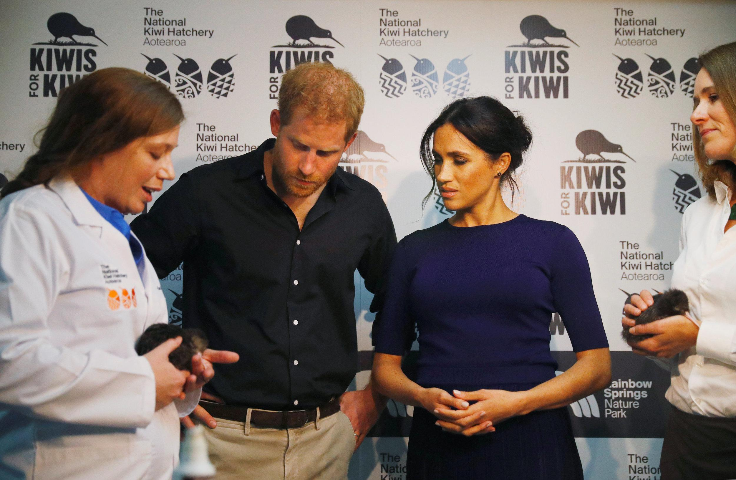 The Duke and Duchess of Sussex during a visit to the Kiwi Breeding Programme at Rainbow Springs in Rotorua, New Zealand, on day four of the royal couple's tour of New Zealand.