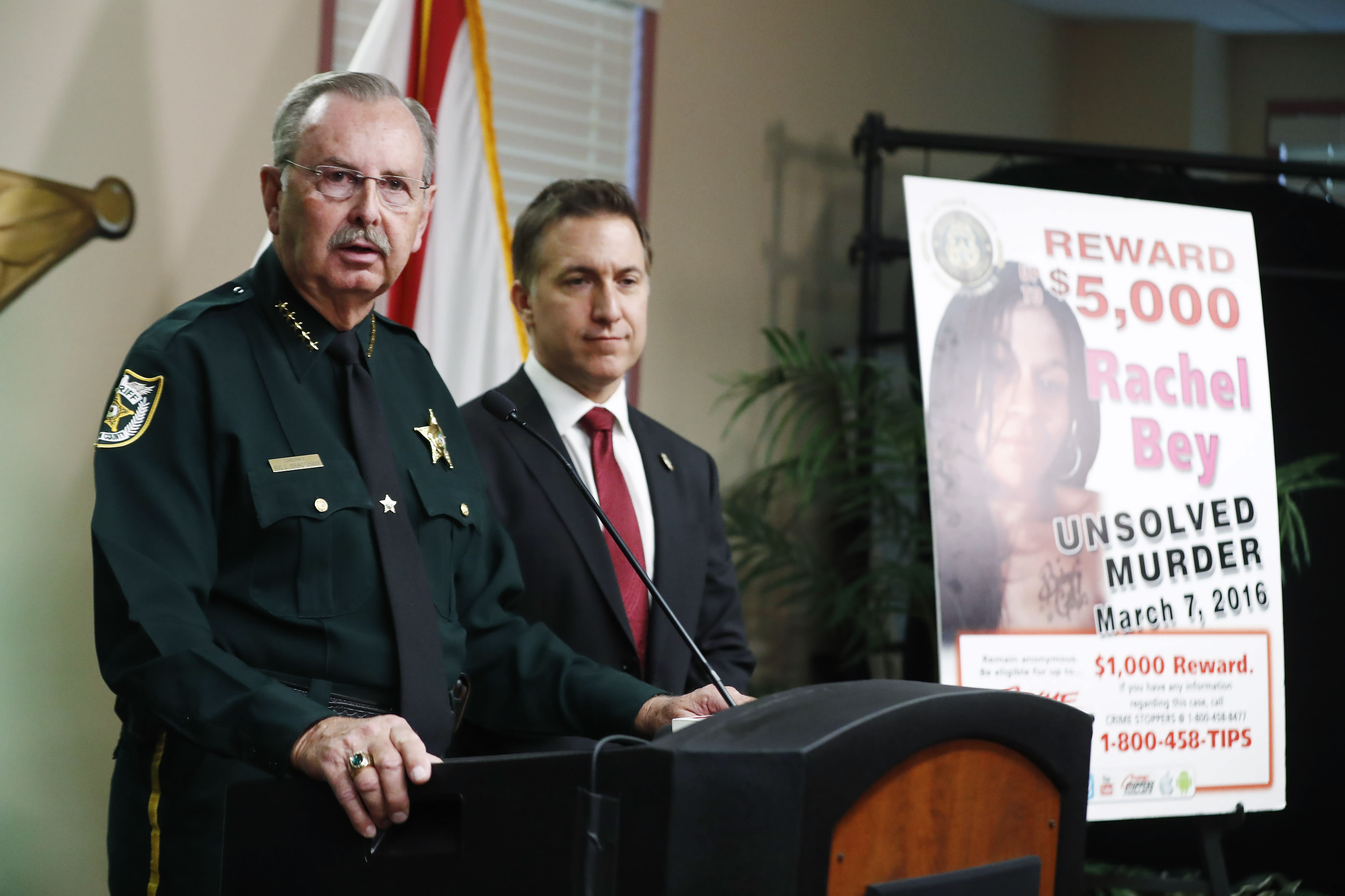 REMOVES AGE REFERENCE - Palm Beach County Sheriff Ric Bradshaw speaks during a news conference on Monday, Sept. 16, 2019, in West Palm Beach, Fla. Palm Beach County Sheriff's officials said Monday they arrested Hayes for first degree murder in Rachel Bey's death. (AP Photo/Brynn Anderson)
