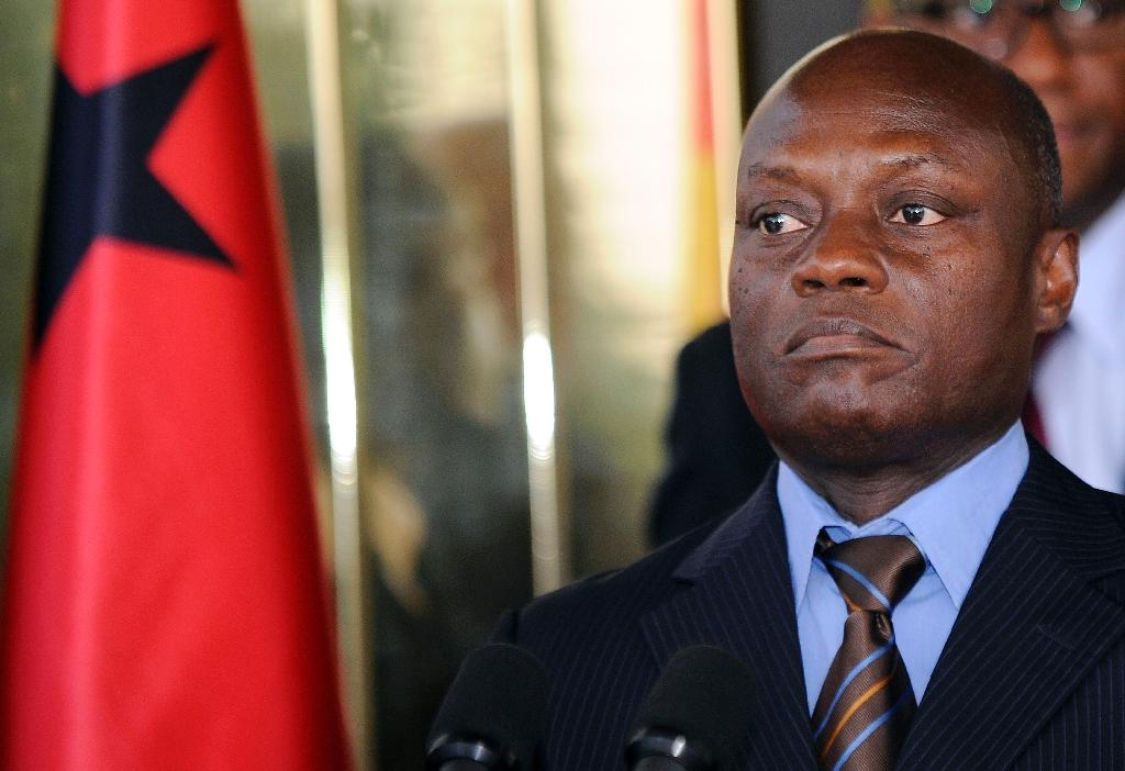 Guinea-Bissau's President Jose Mario Vaz holds a press conference at the presidential palace in Abidjan on June 11, 2014