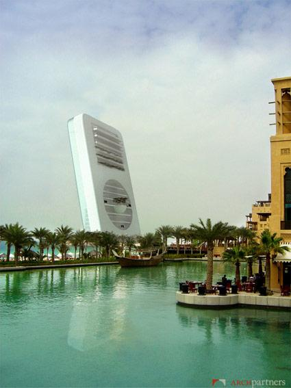 iPod building, as envisioned by 3D architecture firm