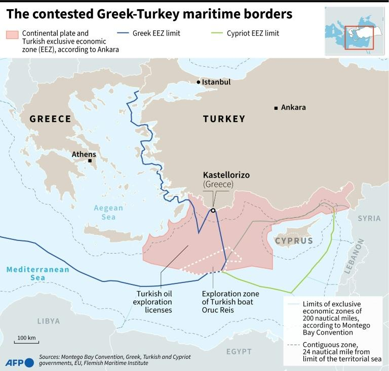 The contested Greek-Turkey maritimes borders