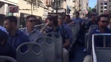 Padres ride on double-decker tour bus to game
