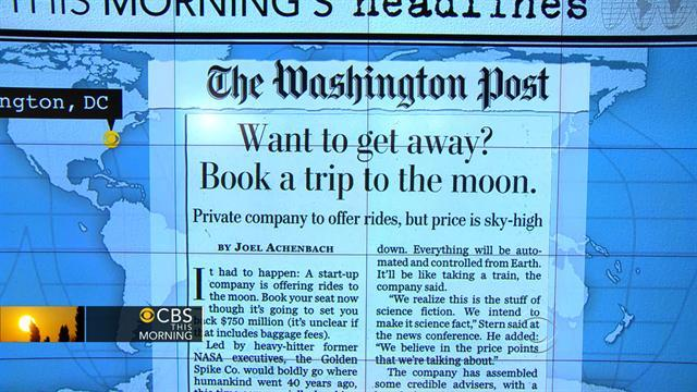 Headlines: Space tourism company offers moon rides