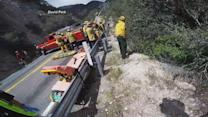 Motorcyclist survives cliffside crash caught on camera