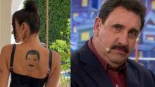 Internautas enxergam rosto de Ratinho em tatuagem de Dua Lipa
