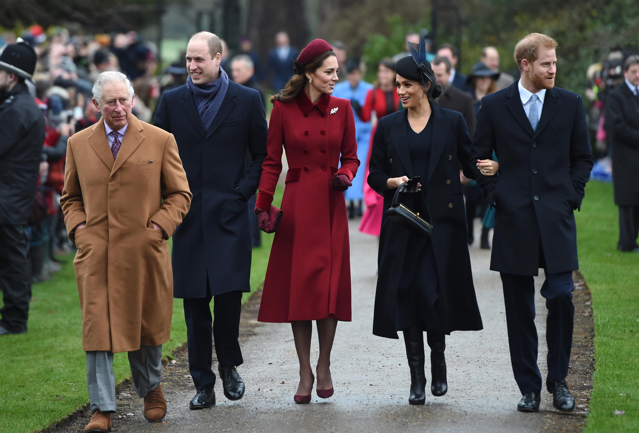 The Prince of Wales, the Duke of Cambridge, the Duchess of Cambridge, the Duchess of Sussex and the Duke of Sussex arriving to attend the Christmas Day morning church service at St Mary Magdalene Church in Sandringham, Norfolk.