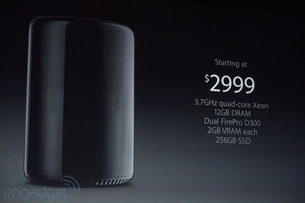 Mac Pro launches in December for $3,000: 3.7GHz quad-core Xeon CPU, 12GB RAM, 256GB SSD