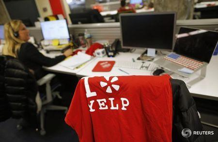 An employee works in the Yelp Inc. offices in Chicago