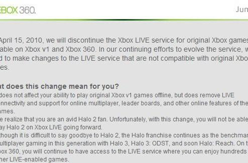 Xbox Live termination ends in a consolation goodie bag for Halo 2 owners