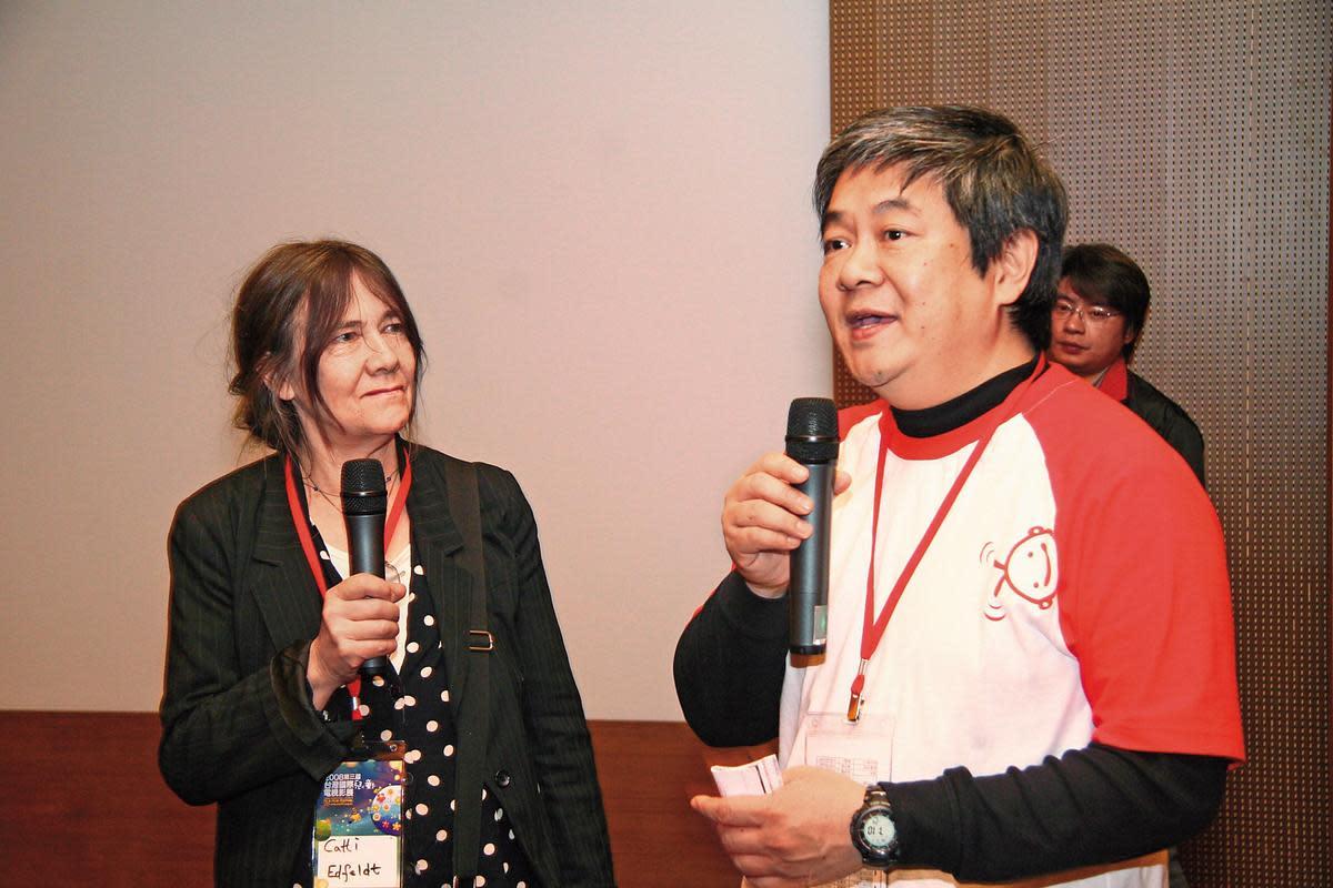 《西》片導演之一卡迪艾菲特(左)也曾來台出席國際兒童影展,介紹她的作品《我的嘻哈奶爸》。(台灣國際兒童影展提供)