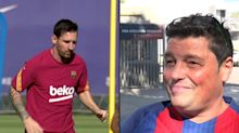 FC Barcelona fans react to Messi's return to the training ground