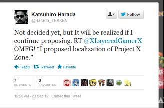 Harada is pretty confident he can get Project X Zone localized