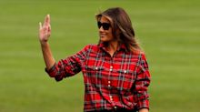 Melania Trump wears $1,362 plaid shirt with matching gardening gloves for harvest event