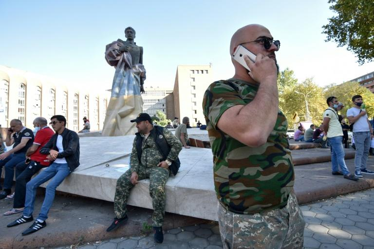Armenian volunteers ready to go to the frontline in Nagorny Karabakh gathered in Yerevan on Sunday