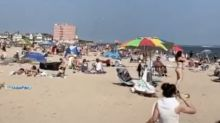 People Gather at Brooklyn's Brighton Beach Ahead of Holiday Weekend