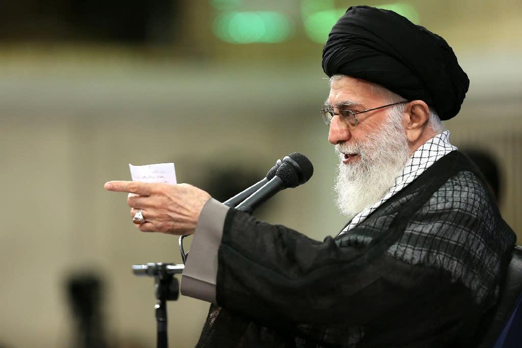 Iran's supreme leader Ayatollah Ali Khamenei addresses the commanders of Revolutionary Guards during a meeting in Tehran, on September 18, 2016