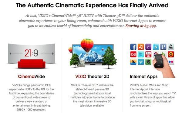 Vizio reveals $3,499 price for its 58-inch ultrawidescreen HDTV