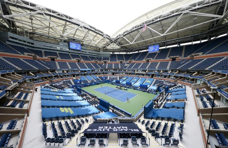 A general view of Arthur Ashe Stadium at the behind-closed-doors 2020 US Open