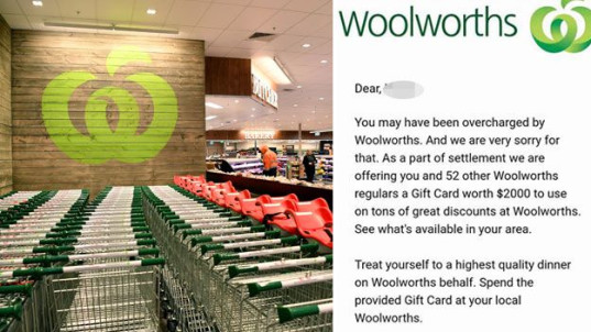 Woolies warns customers of email scam