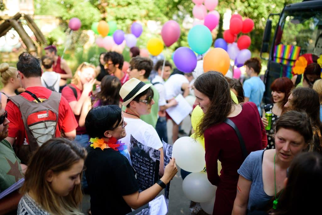 People take part in the Gay Pride Parade in Ljubljana, Slovenia on June 13, 2015