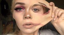Mulher viraliza ao criar maquiagem que puxa a própria pele
