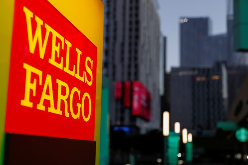 A Wells Fargo ATM machine is shown in Los Angeles, California