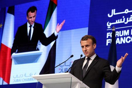 French President Emmanuel Macron delivers a speech at Dubai's Chamber of Commerce in Dubai, UAE, November 9, 2017. REUTERS/Ludovic Marin/Pool