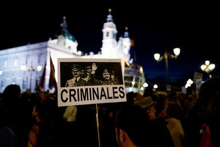 Thousands Protest Outside Madrid Cathedral Against Franco Burial