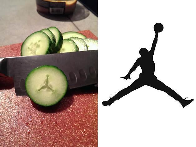 man believes he saw air jordan jumpman logo inside cucumber photo