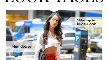 Look des Tages: Yasmin Wijnaldum bauchfrei und in roter Lacklederhose