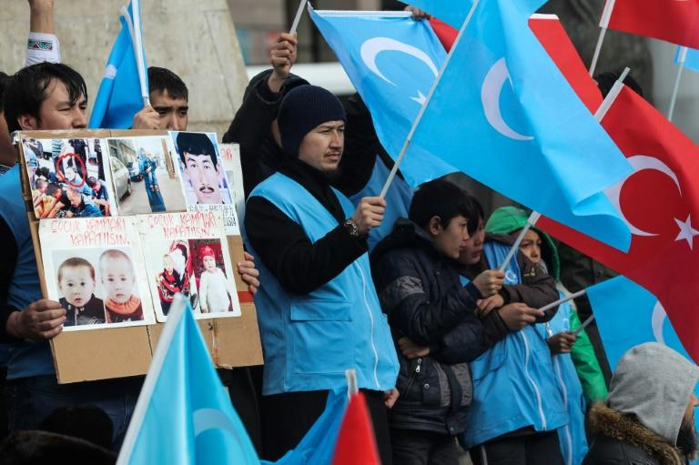 Uighurs living in Turkey in February 2020 stage a demonstration to commemorate the anniversary of deadly ethnic unrest of 1997 in Gulja in Xinjiang (AFP Photo/Adem ALTAN)