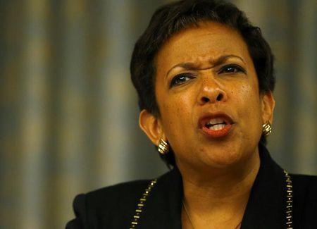US Attorney General Lynch attends a news conference in Zurich